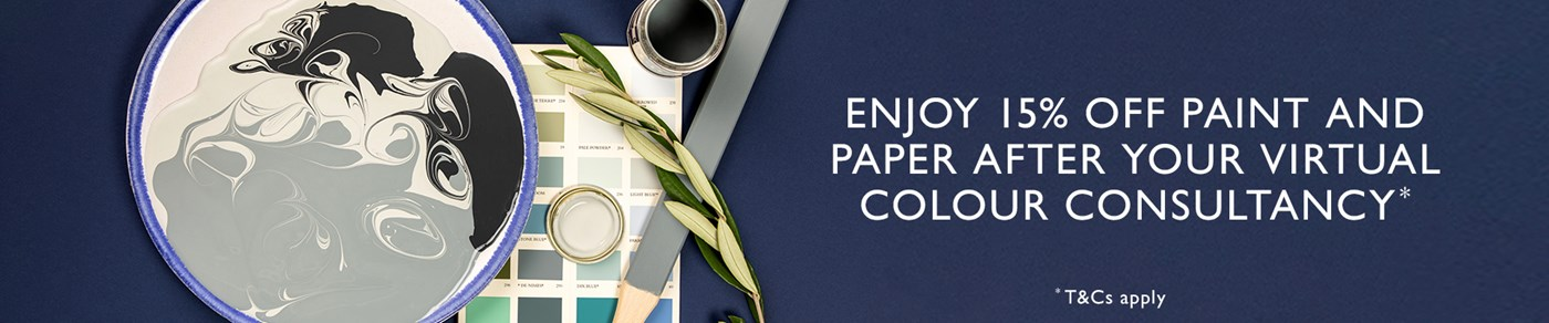 Enjoy 15% off paint and wallpaper after your virtual colour consultancy