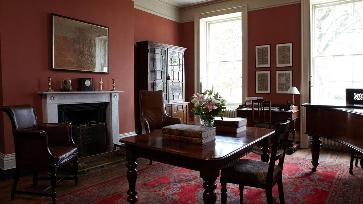 Dining room painted in Book Room Red No.50 in Casein Distemper
