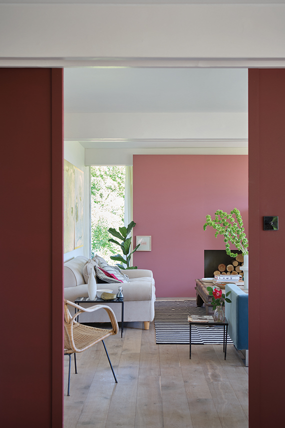 Living room painted in Farrow & Ball Deep Reddish Brown