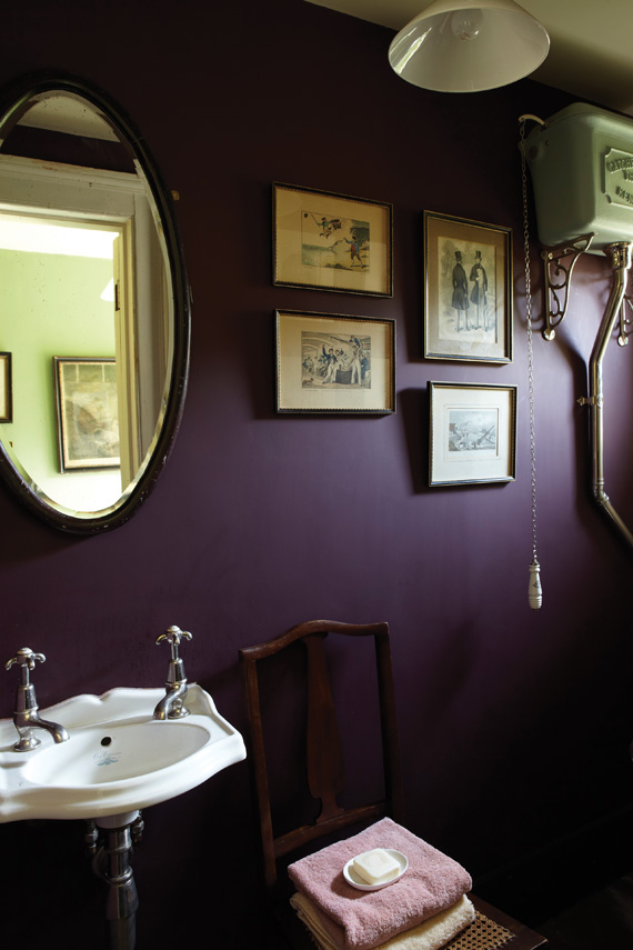 Bathroom painted in Farrow & Ball Brinjal.