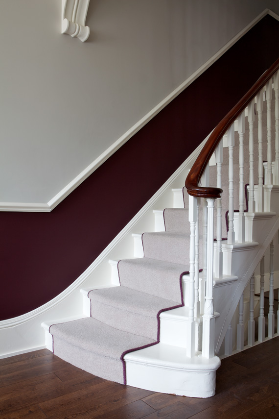 Stairway painted in Farrow & Ball Brinjal.