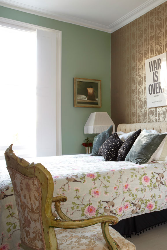 Bedroom painted in Card Room Green with metallic Bamboo wallpaper