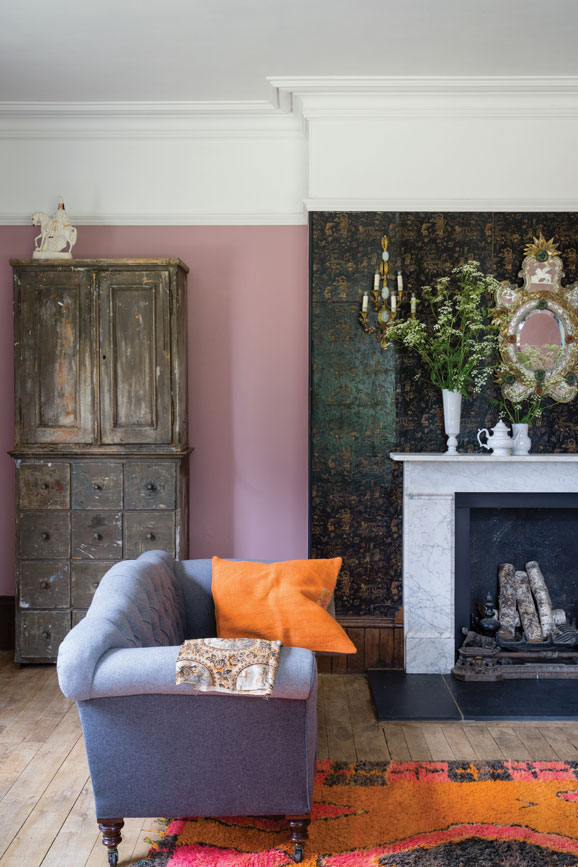 Living room painted in Cinder Rose
