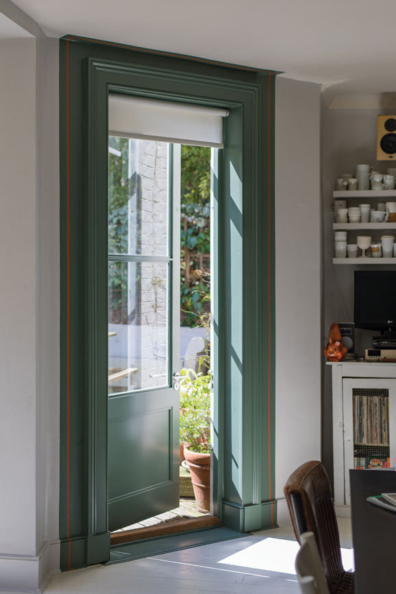 Door frame painted in Green Smoke