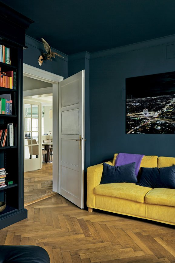 Living room painted in Hague Blue