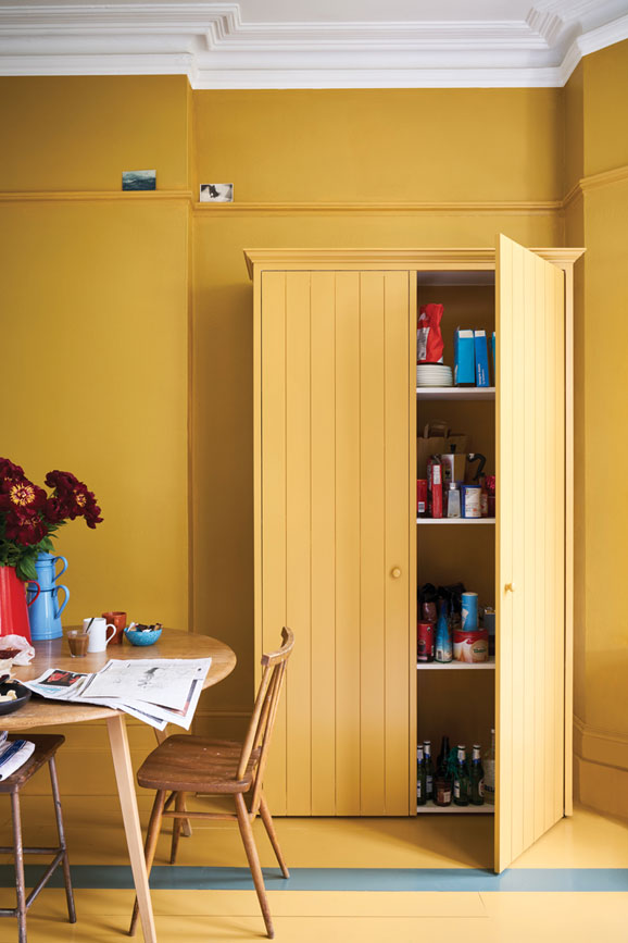 Kitchen painted in India Yellow