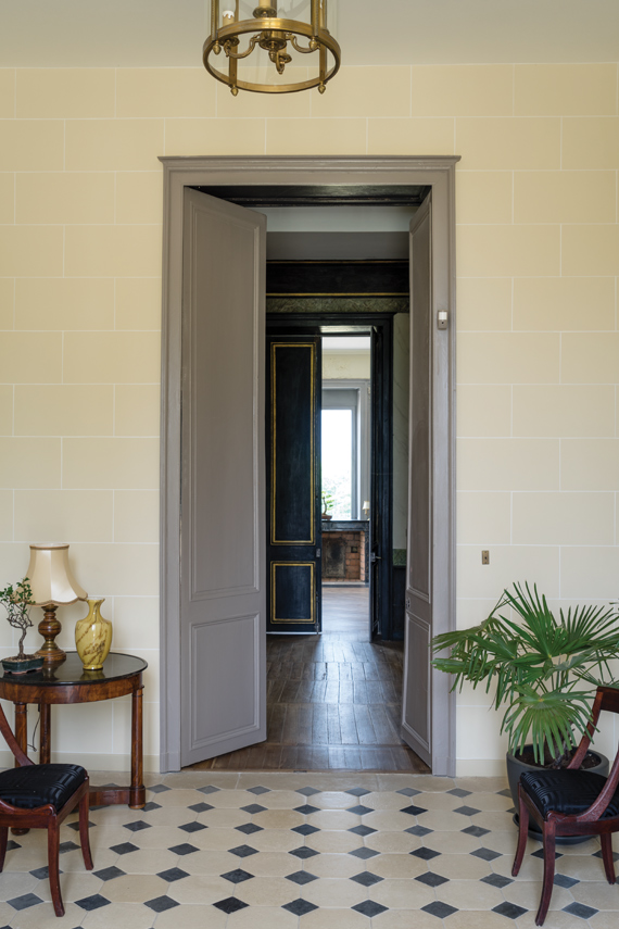 Hallway painted in Farrow & Ball Pale Hound.