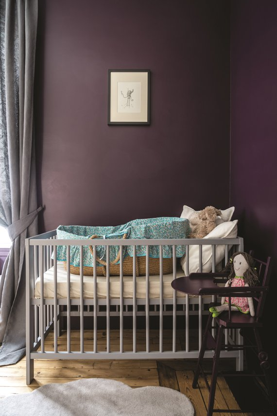 Children's room painted in Farrow & Ball Pelt.