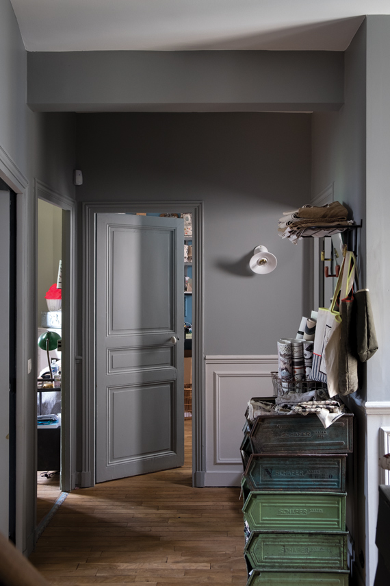 Hallway painted in Farrow & Ball Plummett.