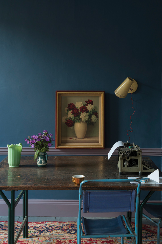 Study painted in Farrow & Ball Stiffkey Blue.