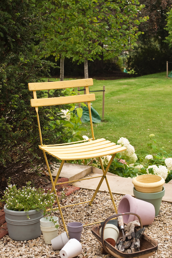 Garden chair painted in Farrow & Ball Yellow Ground.